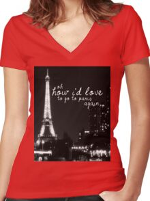 Paris- The 1975 Women's Fitted V-Neck T-Shirt