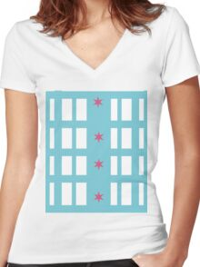 Chicago Remix Building Women's Fitted V-Neck T-Shirt