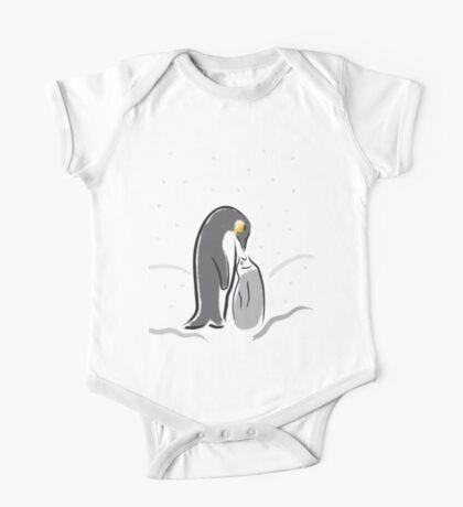 Baby Penguin Feeding time One Piece - Short Sleeve