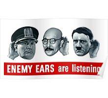 Enemy Ears Are Listening -- WWII Propaganda Poster