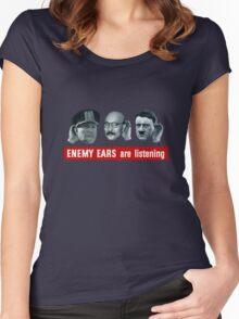 Enemy Ears Are Listening -- WWII Propaganda Women's Fitted Scoop T-Shirt