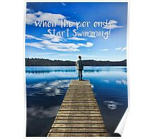 Crystal Blue Lake Pier and Person Swimming Poster