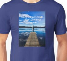 Crystal Blue Lake Pier and Person Swimming Unisex T-Shirt