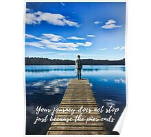 Crystal Blue Lake Pier and Person Journey Poster