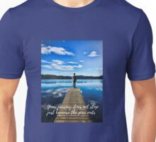 Crystal Blue Lake Pier and Person Journey Unisex T-Shirt