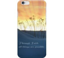 Orange Sky with Rays and Blue Dunes Faith iPhone Case/Skin
