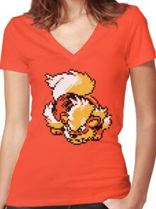 Arcanine Retro Women's Fitted V-Neck T-Shirt