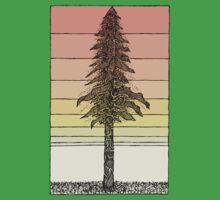 Coastal Redwood Sunset Sketch Kids Tee