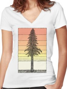Coastal Redwood Sunset Sketch Women's Fitted V-Neck T-Shirt