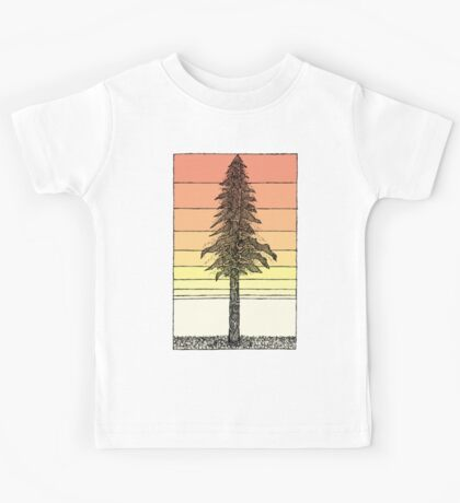 Coastal Redwood Sunset Sketch Kids Tee