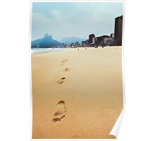 Footprints in Sand on Ipanema Beach in Rio de Janeiro Brazil Poster