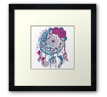 Dream catcher with ornament and roses Framed Print