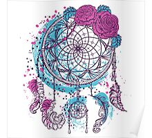 Dream catcher with ornament and roses Poster