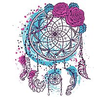 Dream catcher with ornament and roses Photographic Print