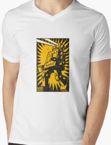 Black Robot Mens V-Neck T-Shirt