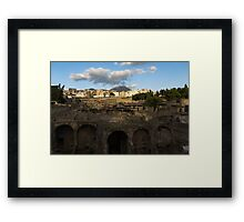 Ancient Herculaneum Ruins - Cloud Shadows Evoke the Ancient Volcano Eruption Disaster Framed Print