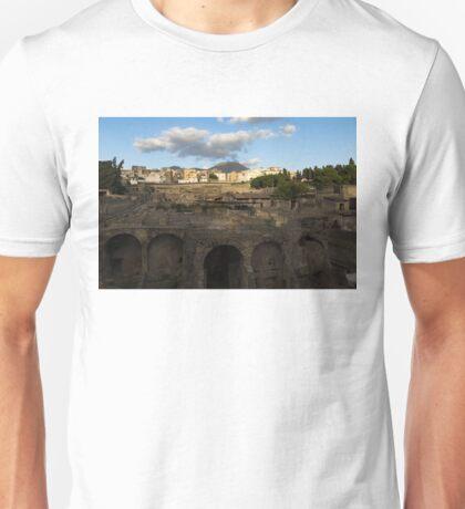 Ancient Herculaneum Ruins - Cloud Shadows Evoke the Ancient Volcano Eruption Disaster Unisex T-Shirt