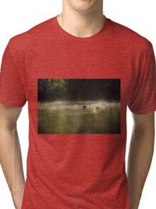 Morning Mist in a Canoe, Karri Valley, Westen Australia Tri-blend T-Shirt