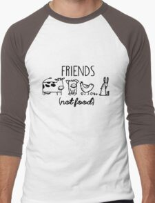 Animal Rights Rescue Friends Not Food Men's Baseball ¾ T-Shirt