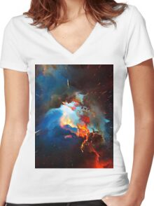 Abstract 52 Women's Fitted V-Neck T-Shirt