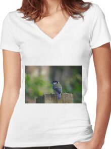 Great Tit Women's Fitted V-Neck T-Shirt