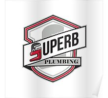 Superb Plumbing Shield Retro Poster