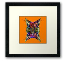 Artificial neural style Space galaxy mirror cat Framed Print