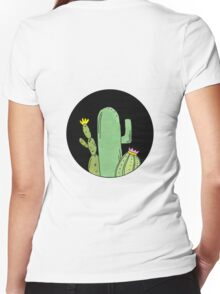 Circle Cacti Women's Fitted V-Neck T-Shirt