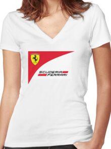 logo Scuderia Ferrari team formula one Women's Fitted V-Neck T-Shirt
