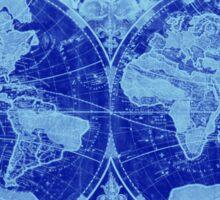 World Map (1691) Blue & Light Blue Sticker