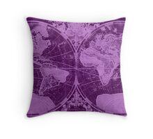 World Map (1691) Dark Purple & Light Purple Throw Pillow