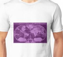 World Map (1691) Dark Purple & Light Purple Unisex T-Shirt