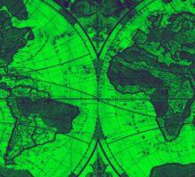 World Map (1691) Green & Blue  Sticker