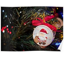 Christmas ornaments Santa on the Christmas tree Poster
