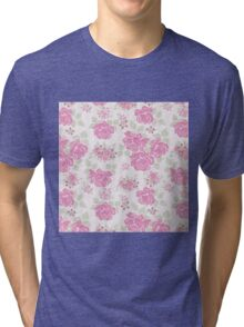 Vintage elegant pink green roses flowers pattern Tri-blend T-Shirt