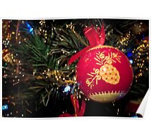Red Christmas ball with retro ornament on Christmas tree Poster