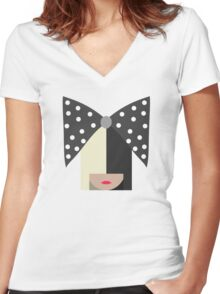 Sia (White) Women's Fitted V-Neck T-Shirt