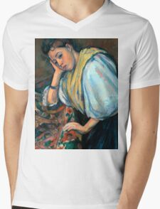 1895 - Paul Cezanne - Young Italian Woman at a Table Mens V-Neck T-Shirt