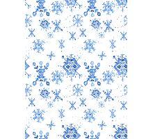 Watercolor Blue Snowflakes Photographic Print