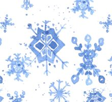 Watercolor Blue Snowflakes Sticker