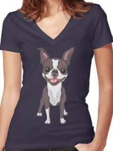 Smiling dog Boston Terrier  Women's Fitted V-Neck T-Shirt