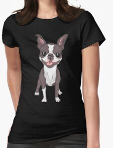 Smiling dog Boston Terrier  Womens Fitted T-Shirt