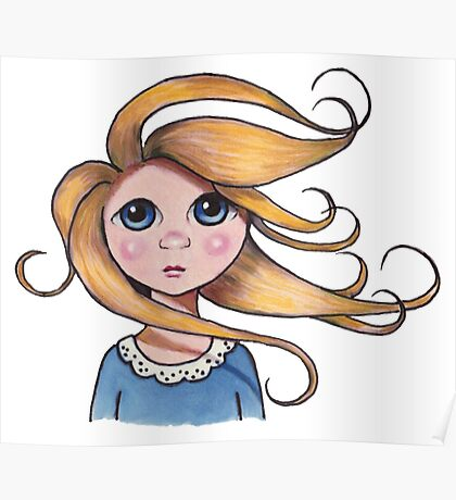 Big-Eyed Girl on Windy Day #2, Whimsical Art Poster