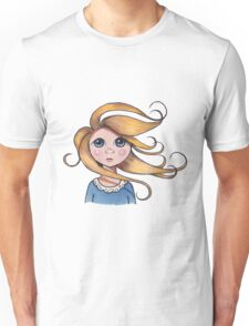 Big-Eyed Girl on Windy Day #2, Whimsical Art Unisex T-Shirt
