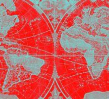 World Map (1691) Red & Light Blue Sticker