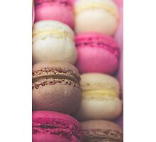 Colourful sweet tasty macaroons in a row Photographic Print
