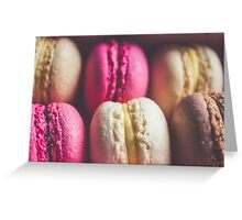 Colourful sweet tasty macaroons in a row Greeting Card