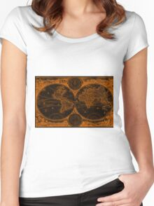World Map (1730) Black & Orange Women's Fitted Scoop T-Shirt