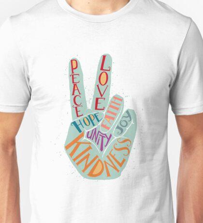 Peace hand sign - Love, Faith, Joy, Hope, Kindness, Unity lettering design Unisex T-Shirt