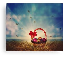 Easter Basket on Grass Canvas Print